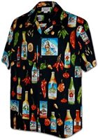 Pacific Legend Hawaiian Hot Black Cotton Men's Hawaiian Shirt