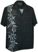 Pacific Legend Ocean Panel Charcoal Cotton Men's Hawaiian Shirt