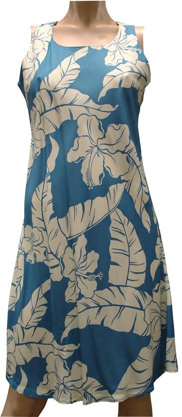9dccf8e2 Paradise Found Hibiscus Pareau Blue Rayon Hawaiian A-Line Tank Short Dress