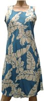 Paradise Found Hibiscus Pareau Blue Rayon Hawaiian A-Line Tank Short Dress