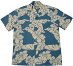 Paradise Found Hibiscus Pareau Blue Rayon Men's Hawaiian Shirt