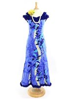 Royal Hawaiian Creations Monstera Lei Blue Poly Cotton Hawaiian Nahenahe Ruffle Long Muumuu Dress