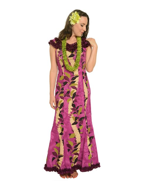 Monstera Lei Purple Poly Cotton Hawaiian Nahenahe Ruffle Long Muumuu Dress