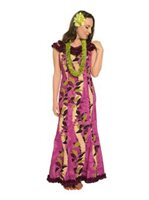 Royal Hawaiian Creations Monstera Lei Purple Poly Cotton Hawaiian Nahenahe Ruffle Long Muumuu Dress