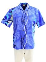 Royal Hawaiian Creations Monstera Lei Blue Poly Cotton Men's Hawaiian Shirt