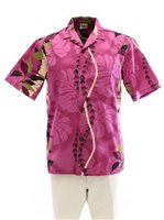 Royal Hawaiian Creations Monstera Lei Purple Poly Cotton Men's Hawaiian Shirt