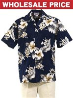 [Wholesale] Pacific Legend Hibiscus Navy Cotton Men's Hawaiian Shirt