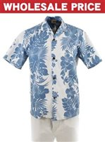 [Wholesale] Royal Hawaiian Creations Hibiscus Panel Blue Poly Cotton Men's Hawaiian Shirt
