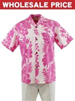 [Wholesale] Royal Hawaiian Creations Hibiscus Panel Pink Poly Cotton Men's Hawaiian Shirt