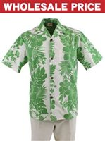 [Wholesale] Royal Hawaiian Creations Hibiscus Panel Green Poly Cotton Men's Hawaiian Shirt