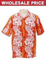 [Wholesale] Royal Hawaiian Creations Hibiscus & Fern  Orange Poly Cotton Men's Hawaiian Shirt