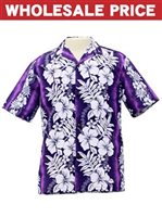 [Wholesale] Royal Hawaiian Creations Hibiscus & Fern  Purple Poly Cotton Men's Hawaiian Shirt