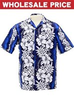 [Wholesale] Royal Hawaiian Creations Hibiscus & Fern  Blue Poly Cotton Men's Hawaiian Shirt