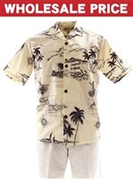 [Wholesale] Royal Hawaiian Creations Hawaii Island Cream Poly Cotton Men's Hawaiian Shirt