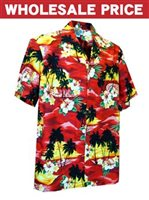[Wholesale] Pacific Legend Sunset Red Cotton Men's Hawaiian Shirt