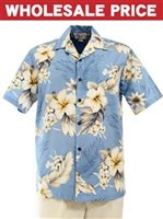 [Wholesale] Pacific Legend Hibiscus Blue Cotton Men's Hawaiian Shirt
