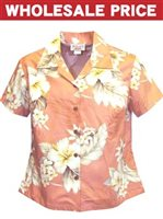 [Wholesale] Pacific Legend Hibiscus Peach Cotton Women's Fitted Hawaiian Shirt