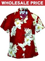 [Wholesale] Pacific Legend Hibiscus Red Cotton Women's Fitted Hawaiian Shirt