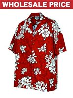 [Wholesale] Pacific Legend White Hibiscus Red Cotton Men's Hawaiian Shirt