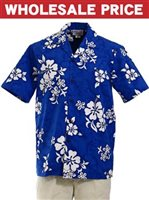 [Wholesale] Pacific Legend White Hibiscus Blue Cotton Men's Hawaiian Shirt