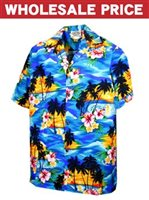 [Wholesale] Pacific Legend Sunset Blue Cotton Men's Hawaiian Shirt