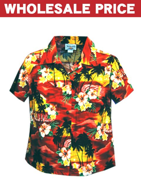 80df4c8b Wholesale] Pacific Legend Sunset Red Cotton Women's Fitted Hawaiian ...