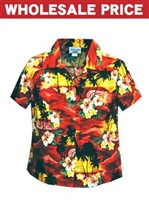 [Wholesale] Pacific Legend Sunset Red Cotton Women's Fitted Hawaiian Shirt