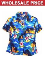 [Wholesale] Pacific Legend Sunset Blue Cotton Women's Fitted Hawaiian Shirt