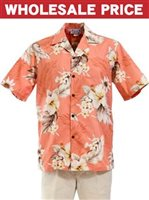 [Wholesale] Pacific Legend Hibiscus Peach Cotton Men's Hawaiian Shirt