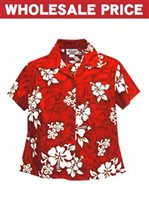 [Wholesale] Pacific Legend White Hibiscus Red Cotton Women's Fitted Hawaiian Shirt