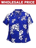[Wholesale] Pacific Legend White Hibiscus Blue Cotton Women's Fitted Hawaiian Shirt