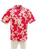 Royal Hawaiian Creations Plumeria Pink Cotton Men's Hawaiian Shirt
