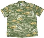 Waimea Casuals Deep Sea Sage Cotton Men's Hawaiian Shirt