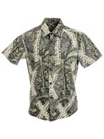 [Exclusive] Anuenue Puakenikeni Palms Reverse Navy Cotton Slim Fit Hawaiian Shirt