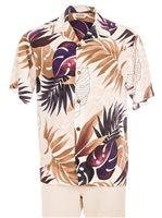 Royal Hawaiian Creations Ginger & Monstera White Rayon Men's Hawaiian Shirt
