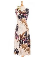 Royal Hawaiian Creations Ginger & Monstera White Rayon Hawaiian Sleeveless Long Dress
