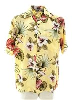 Royal Hawaiian Creations Hibiscus & Monstera Light Yellow Rayon Men's Hawaiian Shirt