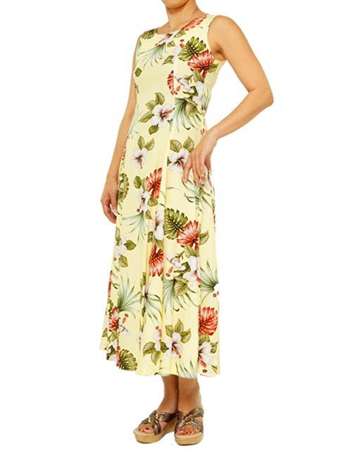 a6f5637c04f Hibiscus   Monstera Light Yellow Rayon Hawaiian Sleeveless Long Dress