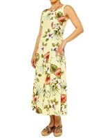 Royal Hawaiian Creations Hibiscus & Monstera Light Yellow Rayon Hawaiian Sleeveless Long Dress