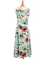Royal Hawaiian Creations Hibiscus & Monstera Light Blue Rayon Hawaiian Sleeveless Long Dress