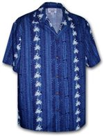 Pacific Legend Palm Tree Navy Cotton Boys Junior Hawaiian Shirt
