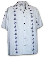 Pacific Legend Palm Tree White Cotton Boys Junior Hawaiian Shirt