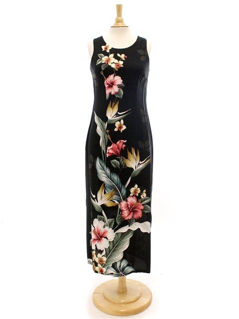 09a4768f8 Royal Hawaiian Creations Tropical Flowers Black Rayon Hawaiian Piping Neck  Slit Long Dress