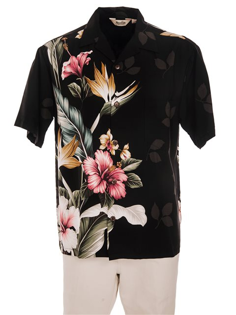 Tropical Flowers Black Rayon Men's Hawaiian Shirt