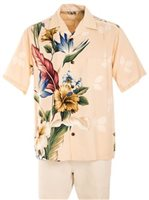Royal Hawaiian Creations Tropical Flowers Cream Rayon Men's Hawaiian Shirt