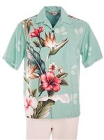 Royal Hawaiian Creations Tropical Flowers Teal Rayon Men's Hawaiian Shirt