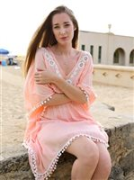 Angels by the Sea Coral Hanalei Embroidered tunic with pom pom