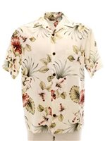 Royal Hawaiian Creations Hibiscus&Monstera Cream Rayon Men's Hawaiian Shirt