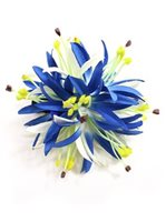 White & Blue Large Spiderlily Hair Clip 5""