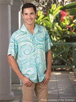 Kai Clothing Pipeline Aqua Rayon Men's Hawaiian Shirt